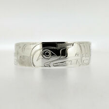 "New Sterling Silver Wolf Haida Style Bracelet .75"" Wide Northwest Native Cuff"