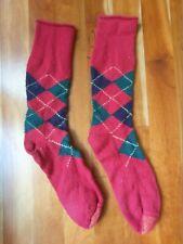Vintage Men's Wool Argyle Socks Red Navy Blue Hunter Green Pattern Christmas