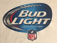 BUD LIGHT BEER T-SHIRT Size L FOOTBALL NFL TEE White with Blue Football Large