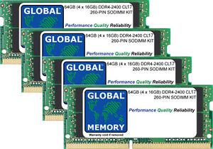 """64GB 4x16GB DDR4 2400MHz PC4-19200 260-PIN SODIMM 27"""" RETINA 5K IMAC (2017) RAM"""