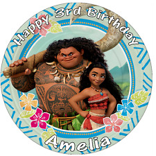 Disney Moana Maui Personalised Wafer Paper Topper For Large Cake Various Sizes