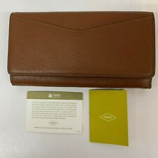 FOSSIL Caroline Continental Flap Wallet RFID Purse Brown Brown New boxed leather