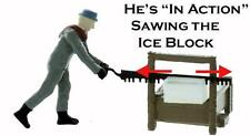 Ice Dock Hand.Sawing Ice Blocks, Ho scale comes Painted with Ice Blocks, Set