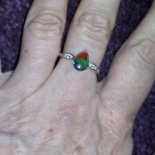 Genuine AA Ammolite & White Zircon Sterling Silver Ring (6X9mm) Size P/Q 8 ~ WOW