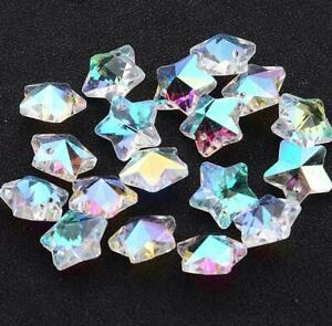 10 PENDANT STAR FACETED GLASS CRYSTAL BEADS 13mm XMAS RAINBOW AB LUSTRE GLS14