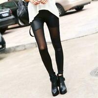 Mode Frauen Sexy Mesh PU Leder Patchwork Skinny Leggings Schwarz U2J1 V7H0