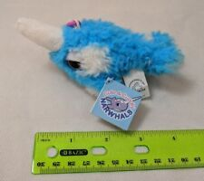 """Applause Narwhal Mini Plush Keychain 3"""" Shaggy Blue/White Very Soft! NWT"""