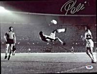 Pele Signed 11x14 Soccer Photo Bike Kick - Autographed PSA/DNA COA