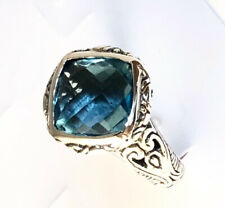 Sterling Silver Square Cushion Cut Blue Topaz Filigree Size 8 Ring R050503