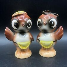 Vintage Ceramic Salt Pepper Shakers Anthropomorphic Owl Couple Golf Cap Japan