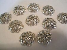 25 ANTIQUE SILVER PLATED 14x4mm TIBETAN STYLE FLOWER BEAD CAPS BRACELET