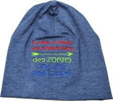 dünne Beanie Mütze Jersey Jungs mit Spruch bestickt blau meliert