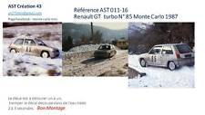 DECALS CALCA 1 43 RENAULT GT TURBO N° 85 RALLY WRC MONTE CARLO 1987 MONTECARLO