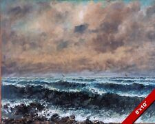 THE FRENCH COAST SEASIDE SHORE IN AUTUMN PAINTING COURBET ART REAL CANVAS PRINT