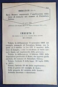 PALOMBARA SABINA(RM)-REGIO DECRETO X APPLICAZIONE DELLA TASSA DI FAMIGLIA-2736