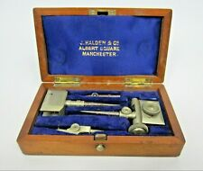 Vintage Trammel Head Set for Beam Compass in Wooden Case - Drafting Drawing Tool