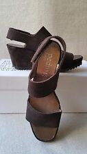 NIB Pedro Garcia Fiona 36 6 Platform Wedge Sandals Brown Suede Strap Leather