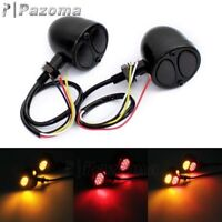 Black 3 in 1 LED Turn Signals Brake Taillight Lamp For Chopper Bobber Cafe Racer