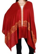 Pure Cashmere Red Pashmina Beautiful Embroidery border accross Luxury Royal Soft