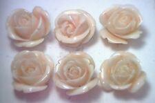 NOS Antique Vintage Carved Coral Flower Rose Stone Undyed 1/set #OK38