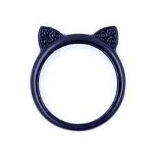 Cute black coloured cat animal ear ring, UK Size M