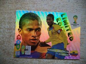 Panini Adrenalyn XL World Cup Antonio Valencia Limited Edition Brasil 2014