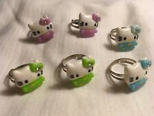 6Pc Adjustable Hello Kitty Child's Plastic Blue/Purple/Green/Fashion Rings/Party
