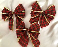 "3 X Red Tartan/gold edge,  wired edge 5""  Bows,Gift bows, Decoration, xmas tree"