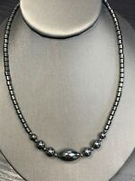 Vintage Hermatite Beautiful Chunky Round Accent Beaded  Pendant Necklace 16""