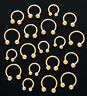 "Single Gold Plated Horseshoes Eyebrow Lip Ear Nose Ring Piercing 14g 7/16"" 11mm"