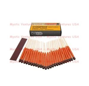 25ct UCO STORM PROOF MATCHES - WITH STRIKERS - 15 Sec. Burn Windproof Waterproof