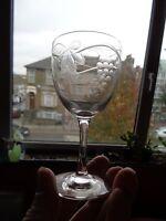 EXQUISITE SET 6 ART NOUVEAU ENGRAVED GLASS  PORT GLASSES VINE & GRAPE DESIGN