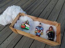 Polonaise 3 Xmas Glass Ornaments Original Crate Circus, Strong Man, Magician