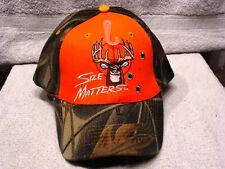 DEER SIZE MATTERS HUNTING OUTDOOR BASEBALL CAP HAT ( CAMOUFLAGE & ORANGE )