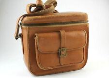 U199804 Vintage Slim-Profile Leather Camera Bag w/Strap, Accessory Pocket
