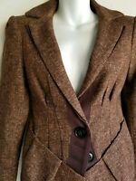 Nanette Lepore women's size 0 brown tweed blazer jacket