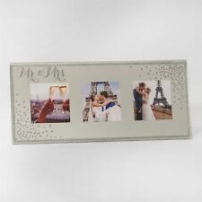 MR & MRS SILVER SPARKLE MIRROR TRIPLE PHOTO FRAME WEDDING GIFT BOXED PRESENT