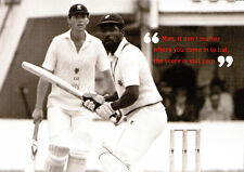 (P126) Postcard Cricket Viv Richards & John Hardy in 1986