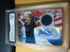 ABBY WAMBACH 2016 TOPPS USA OLYMPICS AUTOGRAHED RELIC CARD 35/50 GRADED 10