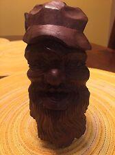 Vintage Wood Carving Of A Bearded Man Walnut Folk Art German Swiss
