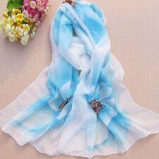a2b613e02f7bc Etole/foulard/écharpe avec motif fleurs - style mousseline de soie : blanc/