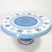 "St. Nicholas Square WINTER FROST 13"" Footed Cake Plate Blue White Snowflake Mint"