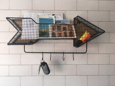 Large Arrow Wire Shelf Hooks Storage Wall Unit Industrial Black Office Wooden