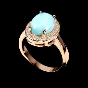 925 Sterling Silber Ring, Roségold beschichtet, 10x8 mm Larimar & Cubic Zirconia