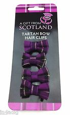 Purple Tartan bow hair clips dispatched same day