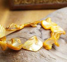 Armband ab 16 cm Perlmutt Gold Gelb Silber irisierend elastisch Muschel Eckig