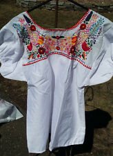 Puebla Mexican Blouse Top Shirt White Embroidered Flowers Peacocks Large L #J