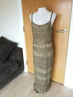 Ladies Dress Size 12 14 Gold Beaded Custom Made Long Maxi Party Evening Cruise