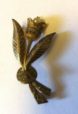 Vintage Stylised Tulip Flower Brooch Gold And Black Spanish Style