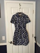 Trina Turk Blue and white  Floral Print Shirt Dress, Size 6 work office career